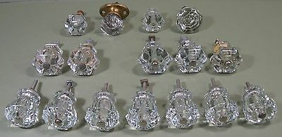 Lot of 16 Vintage Clear Glass Drawer Pulls