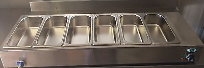 6 Six Pot Bain Marie Electric Sauce Soup Food Warmer LCD Display 4 Foot Long