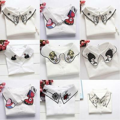 Womens Girls Fake False Collar Tie Detachable Lapel Shirt Blouse Choker Necklace