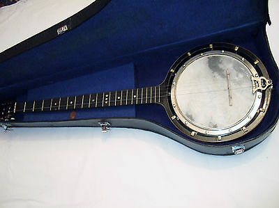 Restored British Zither Banjo by J Abbott good playing order & condition cased