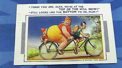 Bamforth Comic Postcard 1951 Cycling Tandem Bicycle Fat Lady  Posted SCARBOROUGH