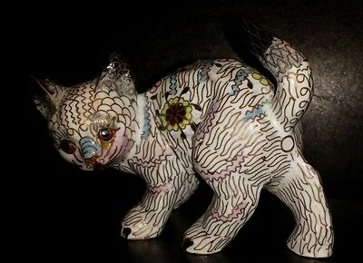 Old Chinese Imperial Cat Statue Figurine Cloisonne Beautiful Hand Made
