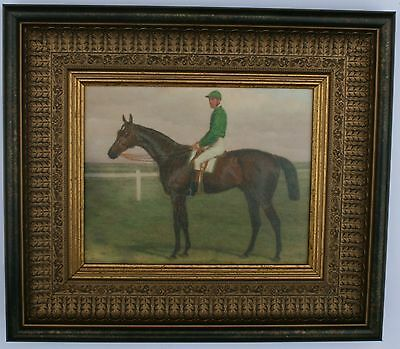 Horse and Jockey Framed Oleograph ###  Reproduction Antiques  ,Art