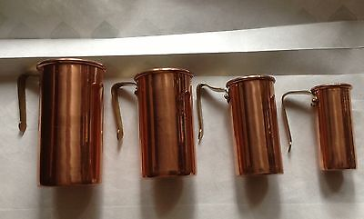 Copper Metal Nesting Measuring Cups 1/4 to 1 Cup - Korea