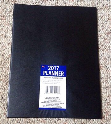 """2017 Black Daily Monthly Planner Calendar • New 8"""" X 10"""""""