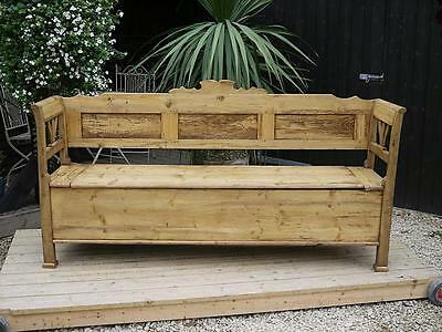 Fab!! Old Antique / Victorian Pine Hungarian/monks Box Bench/settle/pew/storage