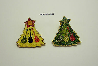 Hard Rock Cafe Tijuana Green & White Christmas Tree & Guitar Ornaments 2 Pin Lot