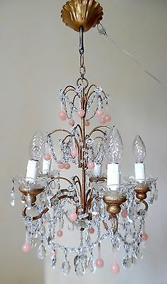 Rose Opaline Drops Crystal Prisms Chandelier Murano 1920