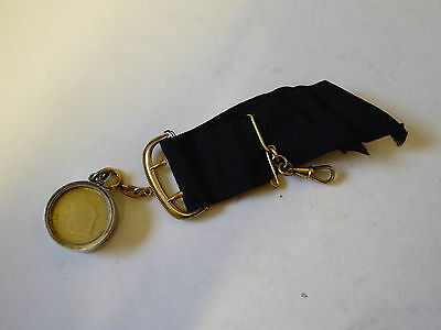 19th Century Mourning Hair & Gilded Georgian Coin on Rolled Gold Cloth Chain Fob