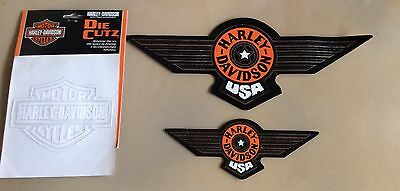 """Lot Of 3 FATBOY Harley Davidson Motorcycle Window Decal Stickers Big 14"""", 8"""", 5"""""""