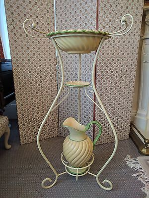 French Style Cream Metal Wash Stand with Basin, Soap Dish and Jug