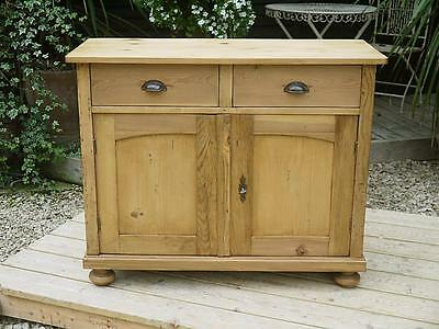 Very Pretty Old Antique Stripped Pine Dresser Base/sideboard/cupboard/cabinet