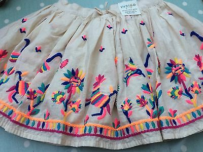 INDIGO M&S - FOLK EMBROIDERED SKIRT Boho Kitsch NEW TAGS Age 18-24 m
