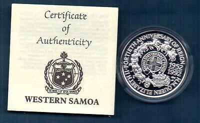 Western Somoa -1992  Silver Proof 10 Dollar  Crown -  Coa - Coronation Anniv