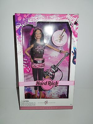 NIB NRFB 2006 Pink Label Barbie Hard Rock Cafe Guitar/Pink Camo w Collector Pin