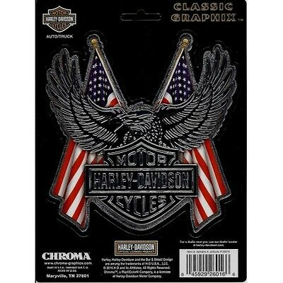 Harley-Davidson Logo With Eagle and American Flag Decal