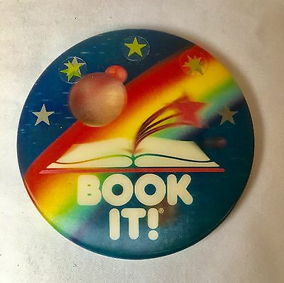 Vintage 1990 Pizza Hut Book It! Button Pinback Badge with 3 Gold Stars!
