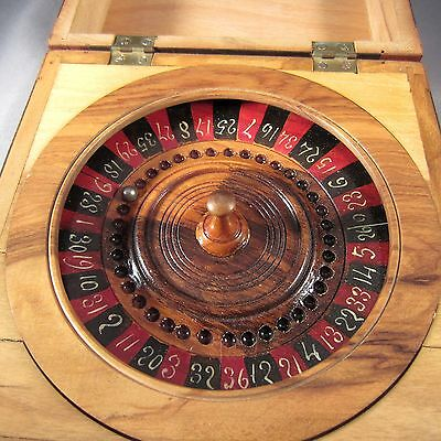Miniature Pocket Roulette Wheel Wooden Box Veneer & Marquetry Cherubs c. 1920's