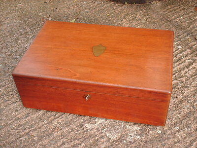 Antique Mahogany  Box / Chest With Working Lock And Key