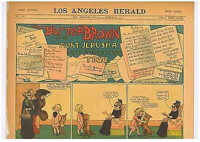 Buster Brown Aunt Jerusha Not Forgetting Tige Original Comic 1904 R F Outcalt
