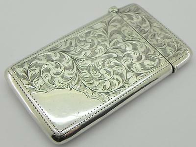 Victorian Solid Silver Card Case, Birmingham 1900, By Henry Pope.
