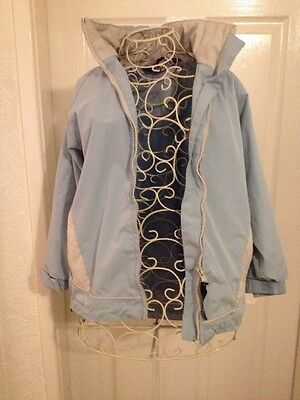 anorak coat Girls age 7-8 years light blue VGC with hood - bodge the badger