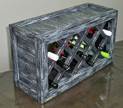 Unique Solid Timber Wine Rack Case. Rustic Reclaimed Distressed Wood Decor
