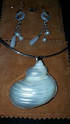 NBW Argento Silver Set Freshwater & Mother of Pearl Earrings Seashell Necklace