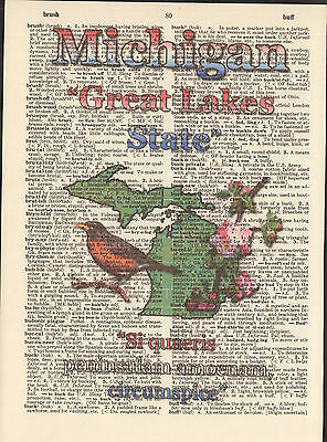 Michigan State Map Symbols Altered Art Print Upcycled Vintage Dictionary Page