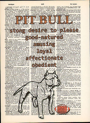 Pit Bull Terrier Dog Traits Altered Art Print Upcycled Vintage Dictionary Page
