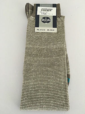 DOING men's sock righe grey/white 70% cotone 30% lino MADE IN ITALY