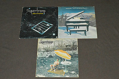 SUPERTRAMP 3 LP RECORD ALBUMS LOT COLLECTION Crime of Century/Quietest/Crisis