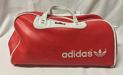 Vintage Adidas Small Vinyl Sports Bag - Red With With Trim
