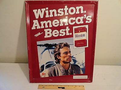 "Vintage Winston Americas Best Large Tin Cigarette Advertising Sign 21.5"" X 17.5"""