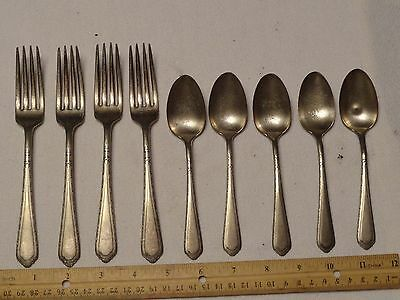 LOT 9 VINTAGE CROMWELL SILVERPLATE SPOONS FORKS dinner soup collectables