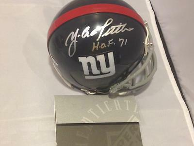Ya Tittle Giants Hof Signed Mini Helmet Uda Upper Deck Holo Coa