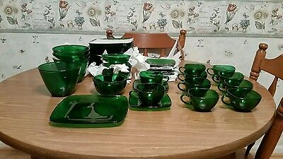 Vintage mid - century A Hocking Charm Forest Green  dep. glass lot 47 pieces