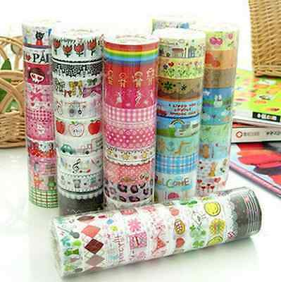10PCS New 1.5cm×3M Paper Sticky Adhesive Sticker Decorative Washi Tapes for DIY