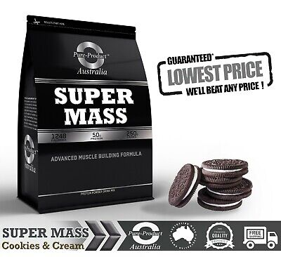 4KG Cookies and Cream  SUPER MASS GAINER  WHEY PROTEIN  - COMPLETE GAINS