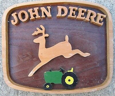 "Homemade Wood John Deere Logo Tractor Sign 6"" x 5"" Wall Plaque"