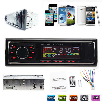 Car In-Dash 1 Din Stereo Audio FM Aux Input Receiver SD USB MP3 WMA Radio Player