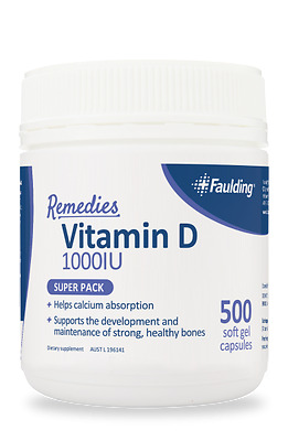 GENUINE Faulding Vitamin D 1000IU | 500 Soft Gel Capsules