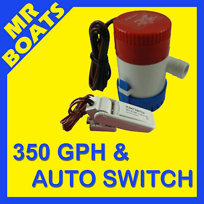 350GPH BOAT BILGE PUMP + FLOAT SWITCH COMBO NEW Submersible Marine Water 350 GPH