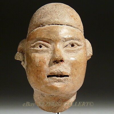 EXQUISITE! OLMEC Pre Columbian Pottery Head of a Male Figure / Dignitary 500 BC