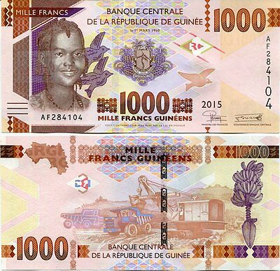 Guinea 1000 1,000 Francs 2015 P New Unc Lot 5 Pcs