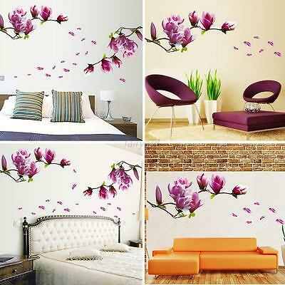 DIY Magnolia Flower Wall Decal Removable Vinyl Sticker Mural Art Room Home Decor