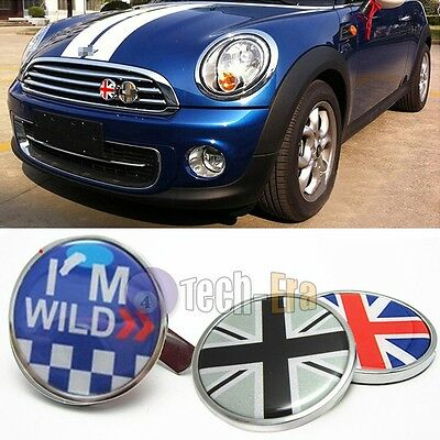 Metal Front Grill Badge w/ Holder Fit All MINI Cooper R50 R55 R56 R57 R558 R60