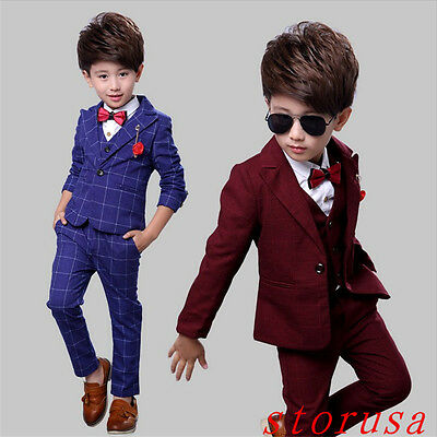Kid's Wedding Groom Tuxedos Flower Boys Children Party New Suits 4 Pieces Size