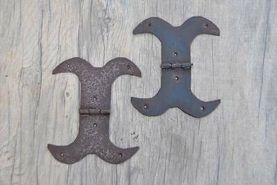 "Antique Iron French Gothic TRUNK WINDOW Door Moustaches Hinges 5.5"" Primitive"