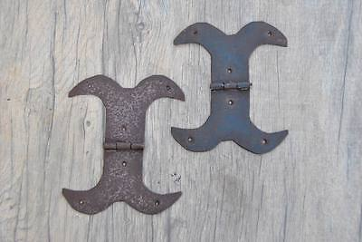 """VINTAGE Iron French Gothic TRUNK WINDOW Door Moustaches Hinges 5.5"""" Primitive"""